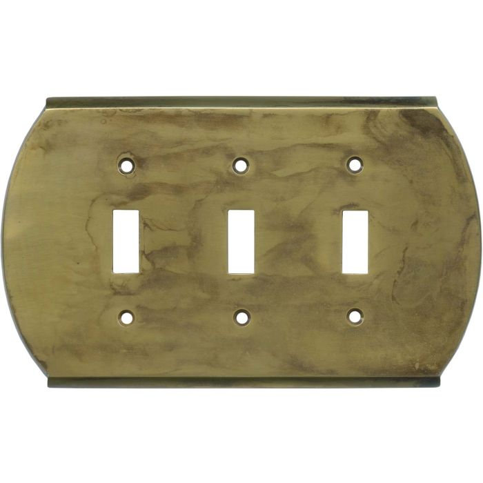 Ovalle Dappled Antique Brass Triple 3 Toggle Light Switch Covers