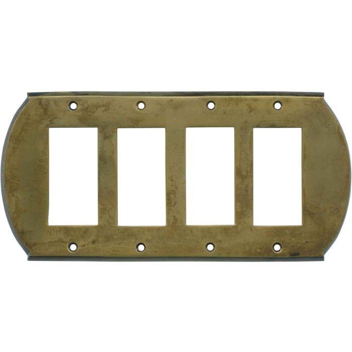 Ovalle Dappled Antique Brass 4 Rocker GFCI Decorator Switch Plates