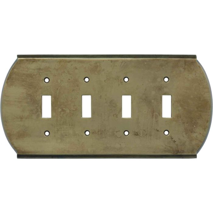 Ovalle Dappled Antique Brass - 4 Toggle Light Switch Covers