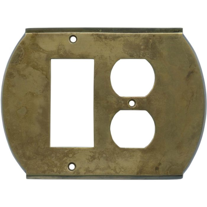 Ovalle Dappled Antique Brass Combination GFCI Rocker / Duplex Outlet Wall Plates