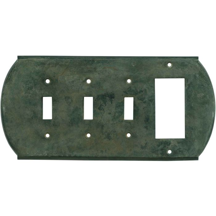 Ovalle Verdigris - 3 Toggle/1 Rocker GFCI Switch Covers