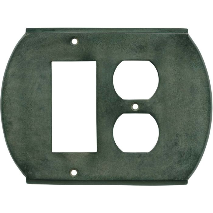 Ovalle Verdigris Combination GFCI Rocker / Duplex Outlet Wall Plates