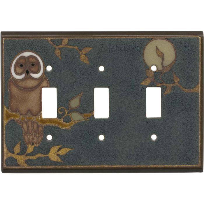 Owl Ceramic Triple 3 Toggle Light Switch Covers