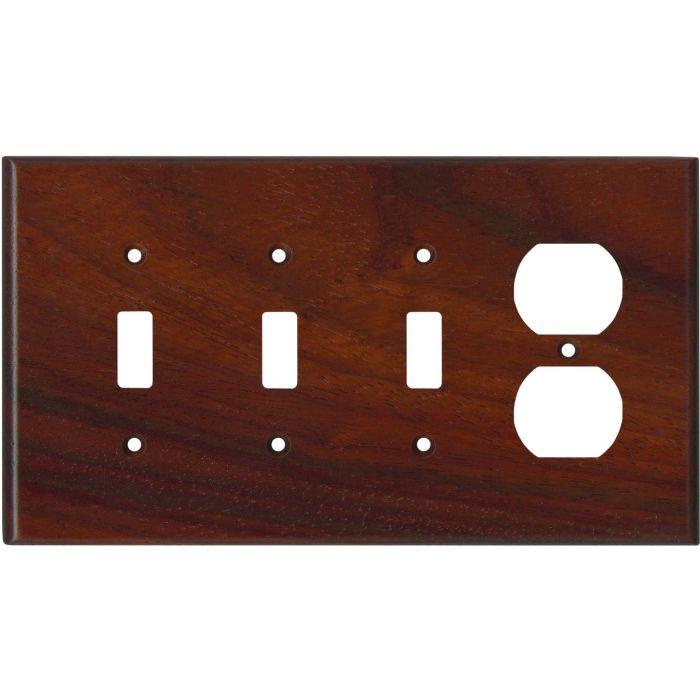 Padauk Satin Lacquer - 3 Toggle Switch Plates