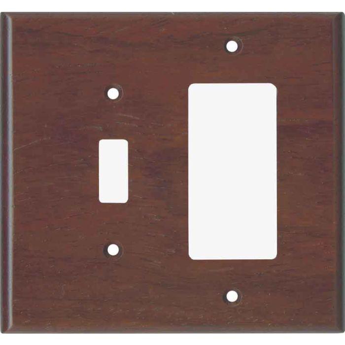 Padauk Unfinished1 Toggle Wall Switch Plate - GFI Rocker Cover Combo