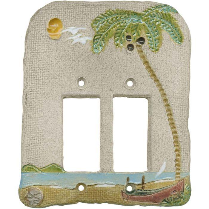 Palm Tree Island 2 Gang Double GFCI Rocker Decorator Wallplates