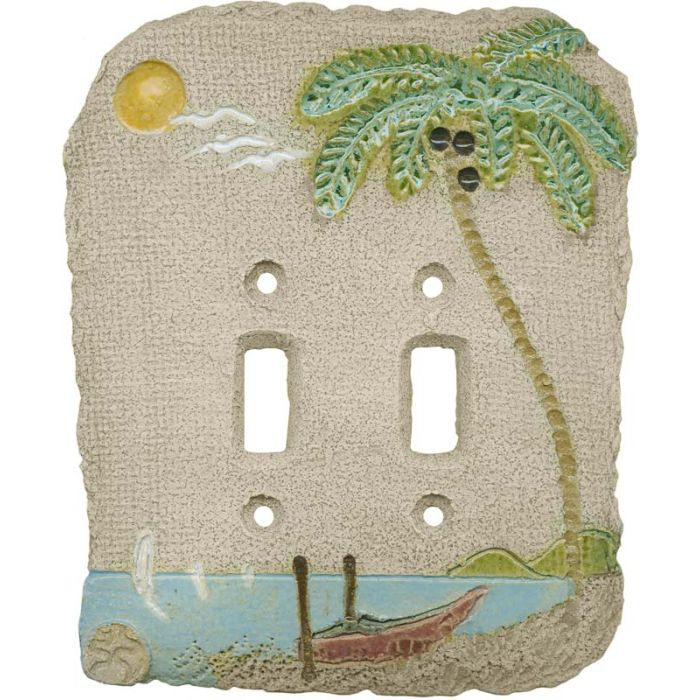 Palm Tree Island Double 2 Toggle Switch Plate Covers