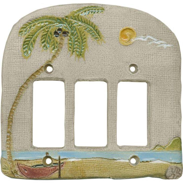 Palm Tree Island Triple 3 Rocker GFCI Decora Light Switch Covers