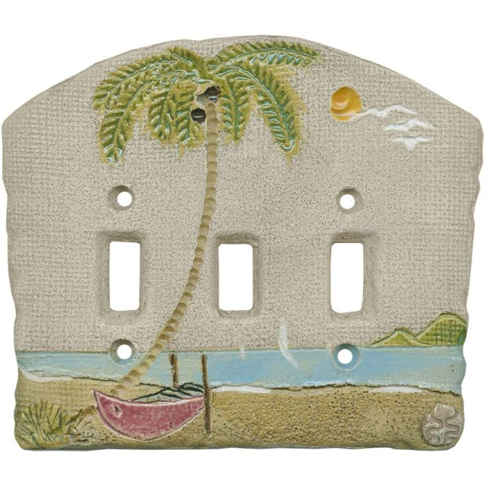 Palm Tree Island Triple 3 Toggle Light Switch Covers