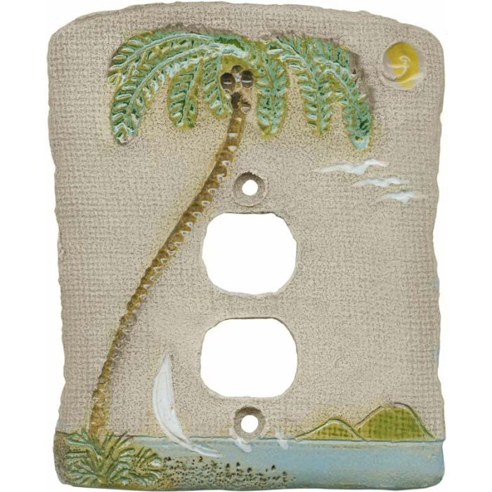 Palm Tree Island 1 Gang Duplex Outlet Cover Wall Plate