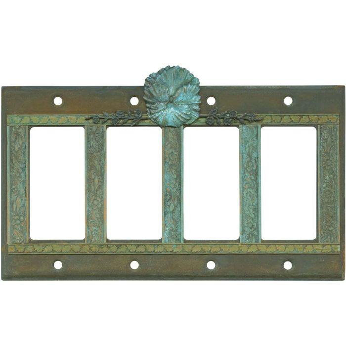 Pansy Flower 4 Rocker GFCI Decorator Switch Plates