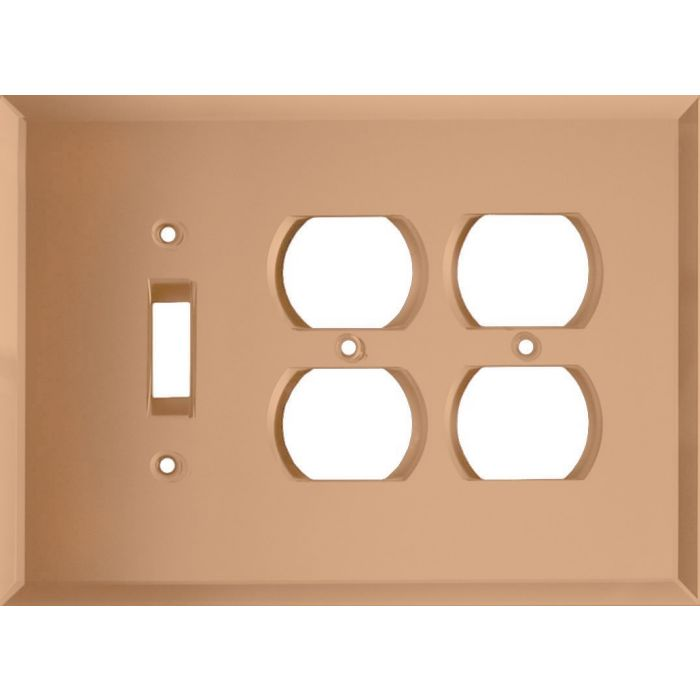 Glass Mirror Peach Combintion Single 1 Toggle / Double 2 Outlet Wall Plates
