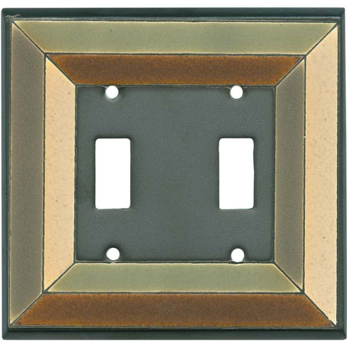 Perspective Ceramic Double 2 Toggle Switch Plate Covers