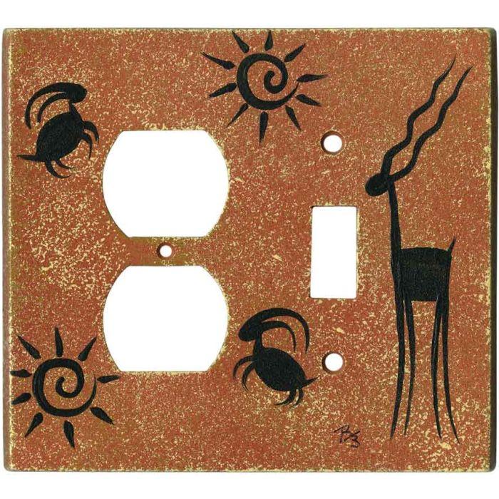 Petrogyph on Terra Cotta1-Duplex / 1-Toggle - Combination Wall Plates