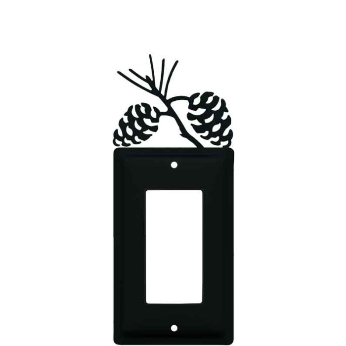 Pine Cone Black Single 1 Gang GFCI Rocker Decora Switch Plate Cover