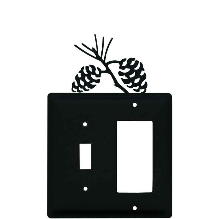 Pine Cone Black Combination 1 Toggle / Rocker GFCI Switch Covers