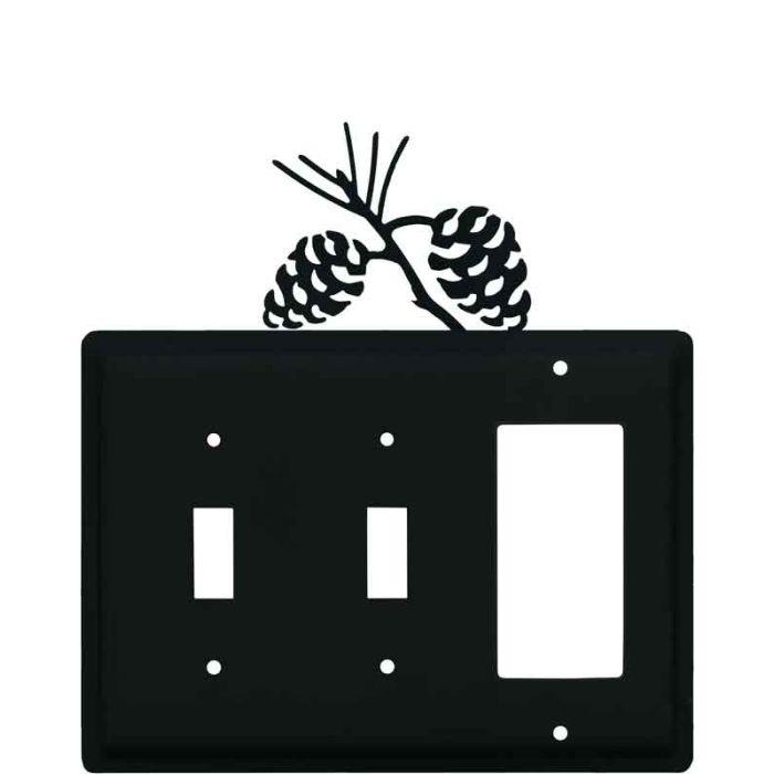 Pine Cone Black Double 2 Toggle / 1 GFCI Rocker Combo Switchplates