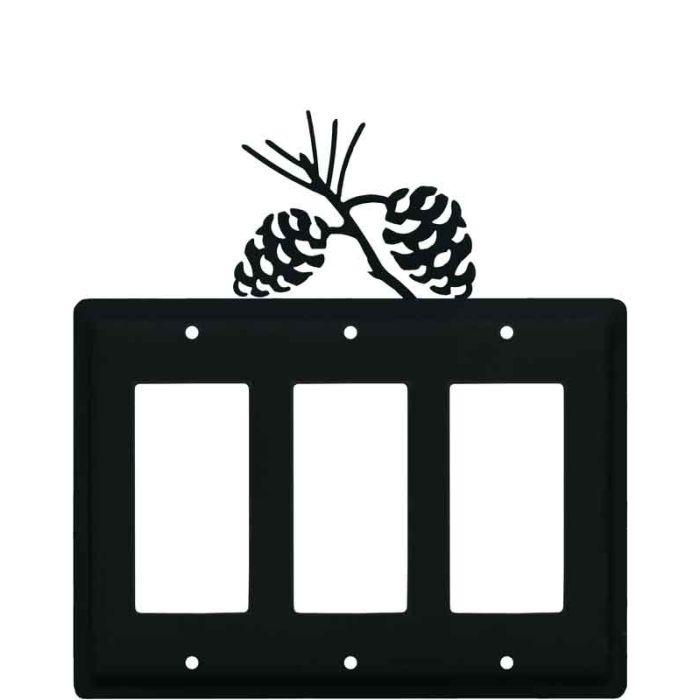 Pine Cone Black Triple 3 Rocker GFCI Decora Light Switch Covers