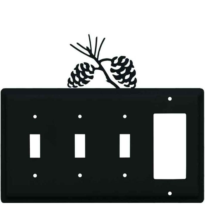 Pine Cone Black Triple 3 Toggle / 1 Rocker GFCI Switch Covers