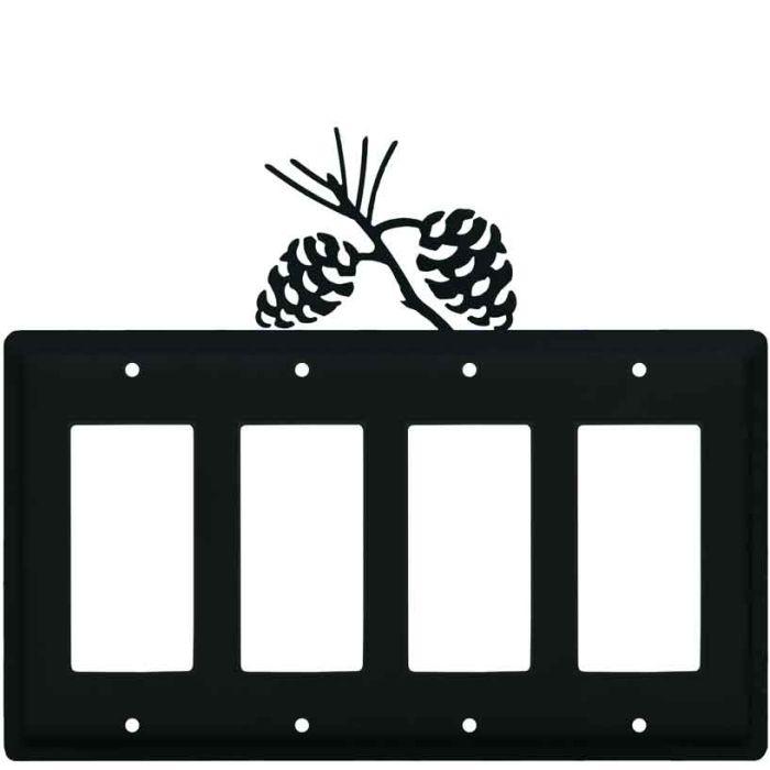 Pine Cone Black 4 Rocker GFCI Decorator Switch Plates