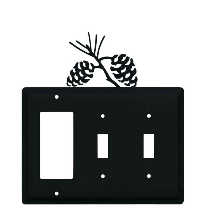 Pine Cone Black 1-Gang GFCI Decorator Rocker Switch Plate Cover
