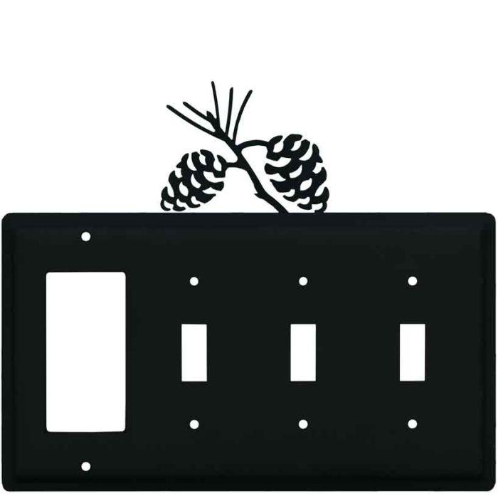Pine Cone Black1-Gang GFCI Decorator Rocker Switch Plate Cover