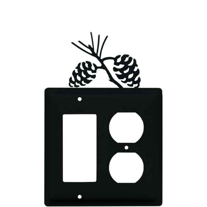 Pine Cone Black Combination GFCI Rocker / Duplex Outlet Wall Plates
