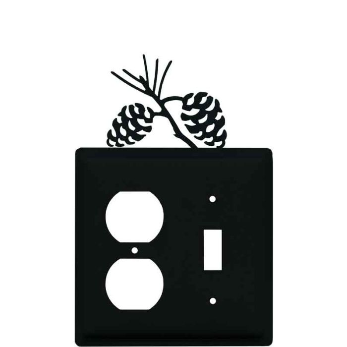Pine Cone Black1-Duplex / 1-Toggle - Combination Wall Plates