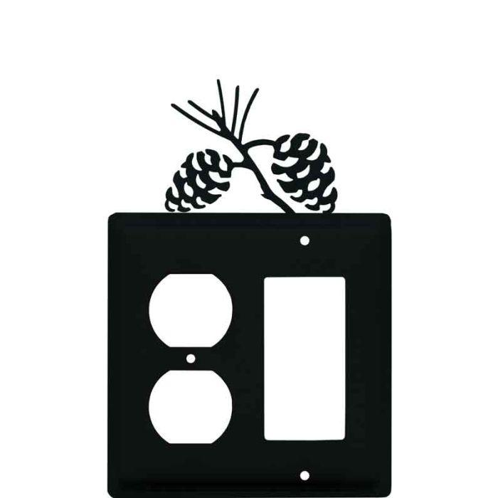 Pine Cone Black1-Duplex / 1 Decorator Rocker - Combination Switch Cover