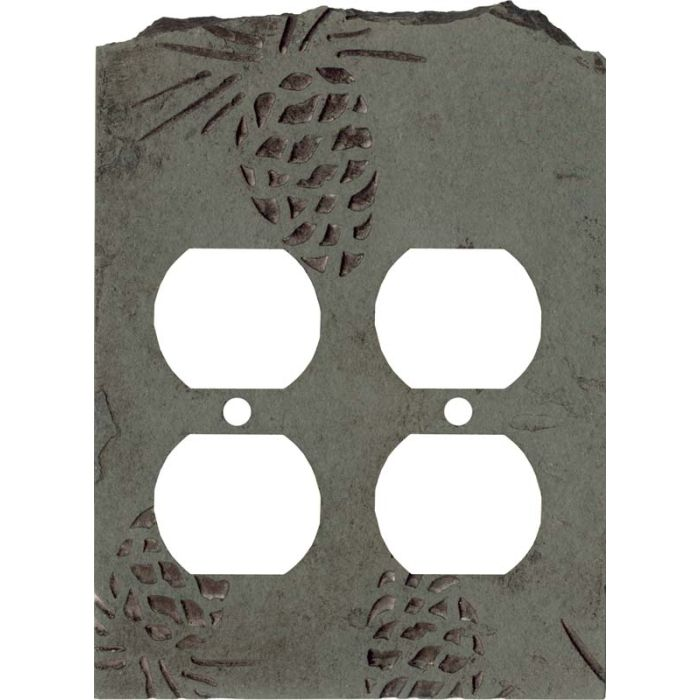 Pine Cone Petra 2 Gang Duplex Outlet Wall Plate Cover