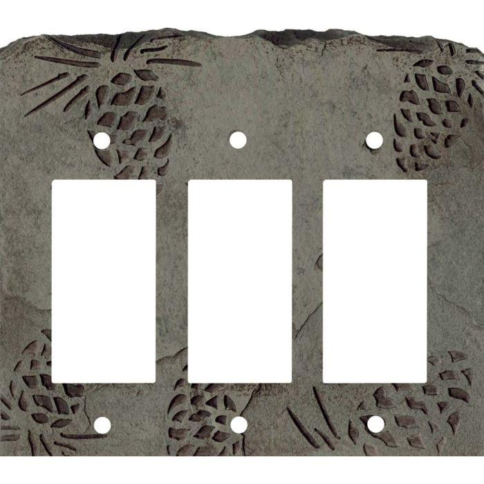 Pine Cone Petra Triple 3 Rocker GFCI Decora Light Switch Covers