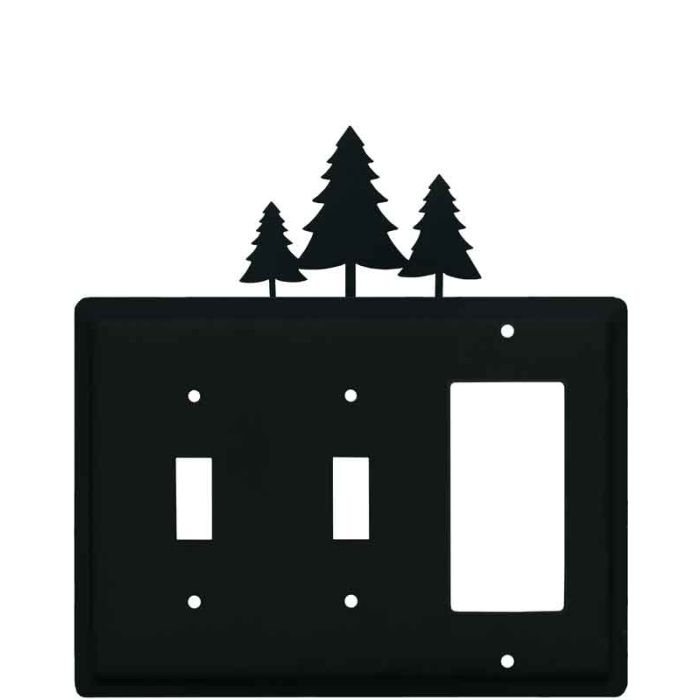 Pine Trees Double 2 Toggle / 1 GFCI Rocker Combo Switchplates