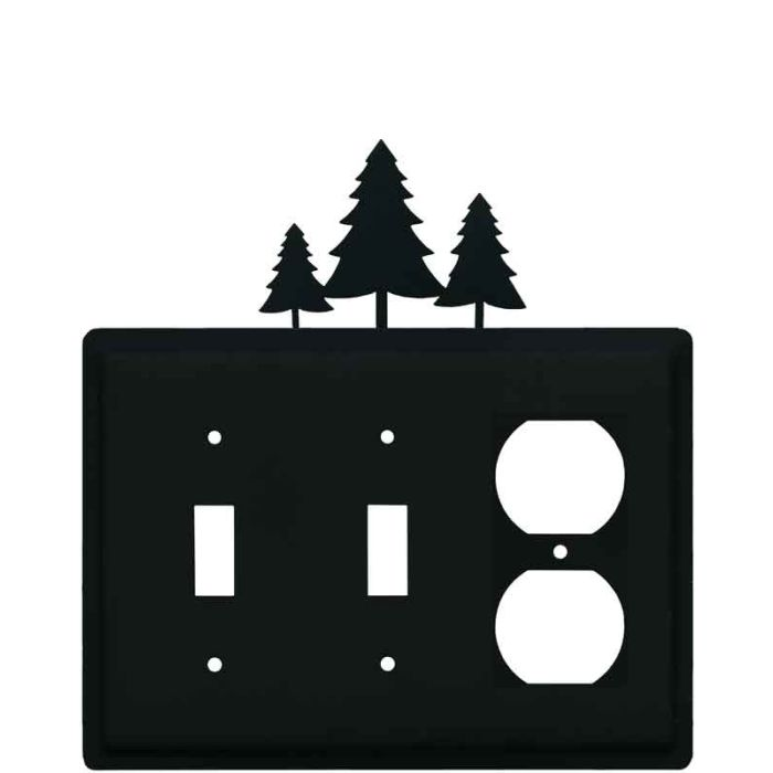 Pine Trees Double 2 Toggle / Outlet Combination Wall Plates