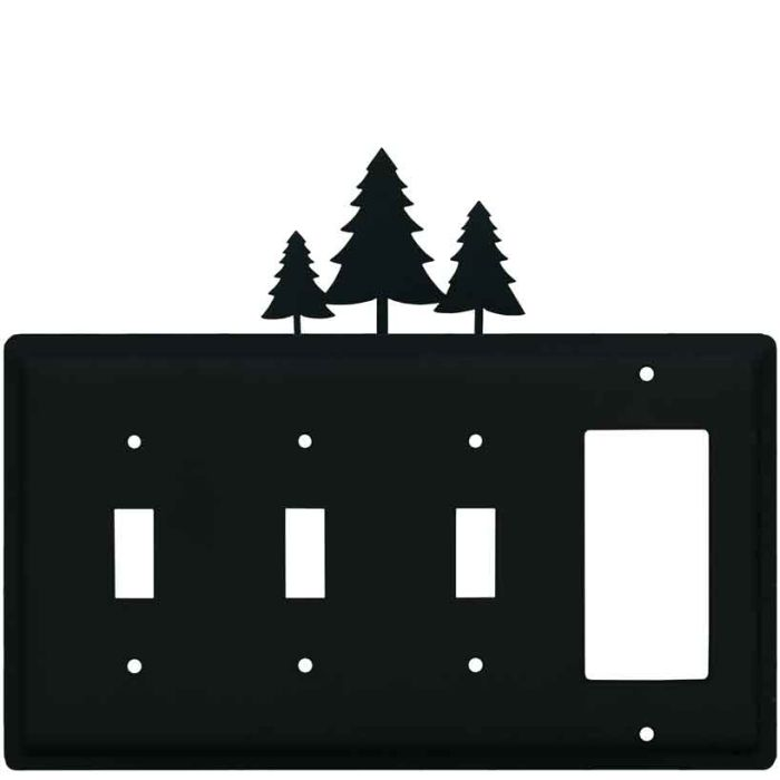 Pine Trees Triple 3 Toggle / 1 Rocker GFCI Switch Covers