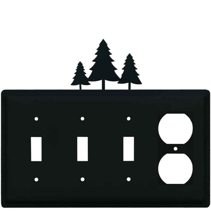 Pine Trees Combination Triple 3 Toggle / Outlet Wall Plate Covers