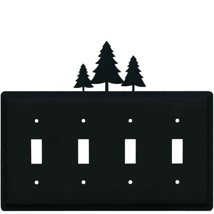 Pine Trees Quad 4 Toggle Light Switch Covers