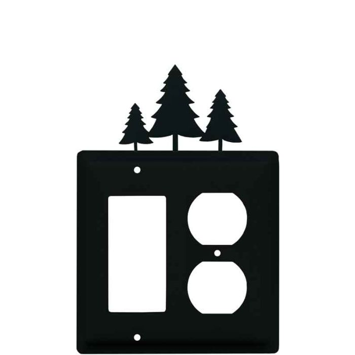Pine Trees Combination GFCI Rocker / Duplex Outlet Wall Plates