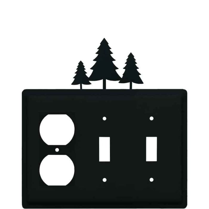 Pine Trees1 - Gang Duplex Outlet Cover Wall Plate