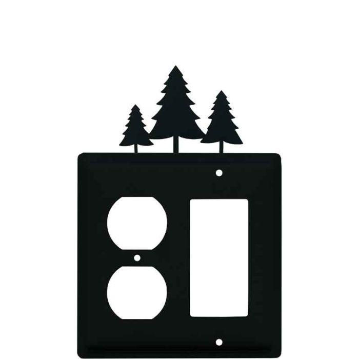 Pine Trees1-Duplex / 1 Decorator Rocker - Combination Switch Cover