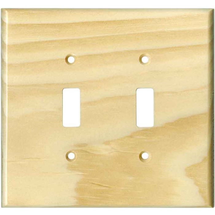 Pine White Satin Lacquer Double 2 Toggle Switch Plate Covers