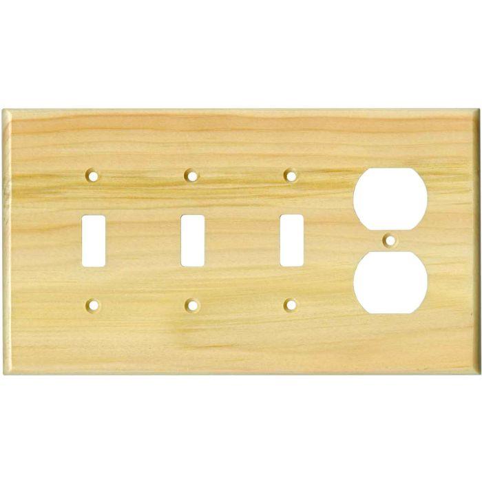 Pine White Satin Lacquer3-Toggle / 1-Duplex - Combination Wall Plates