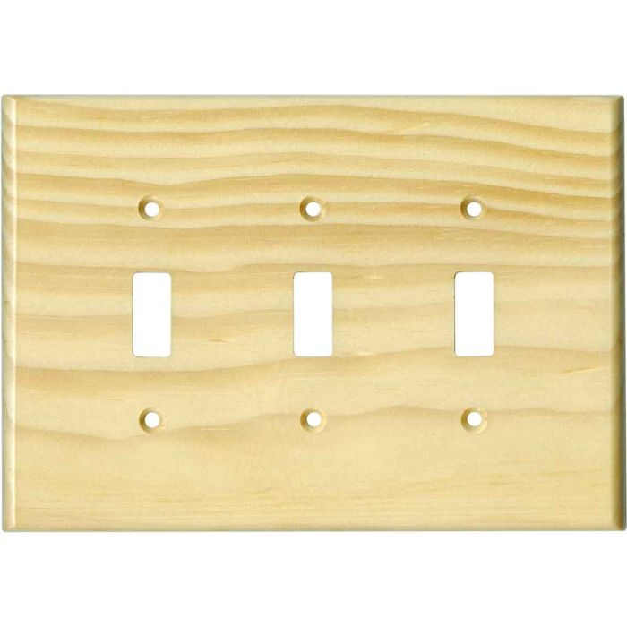Pine White Satin Lacquer Triple 3 Toggle Light Switch Covers