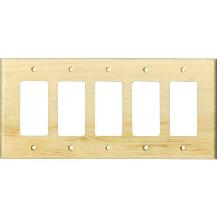 Pine White Satin Lacquer - 5 GFCI Rocker Decora Switch Covers