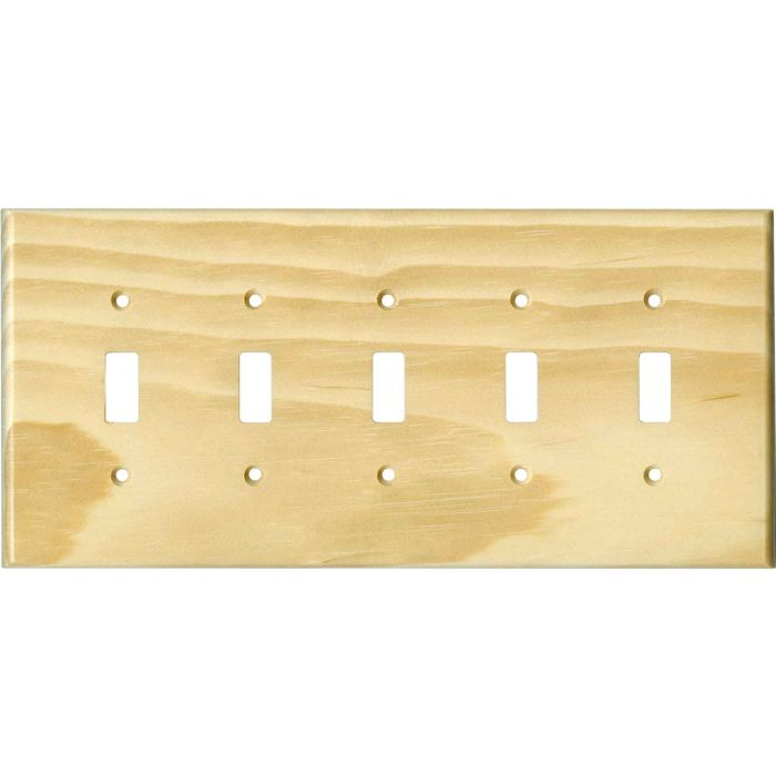Pine White Satin Lacquer - 5 Toggle Wall Switch Plates
