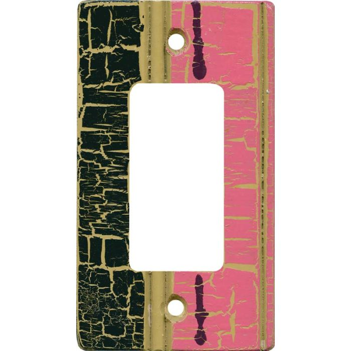 Pink - Black Crackle Single 1 Gang GFCI Rocker Decora Switch Plate Cover