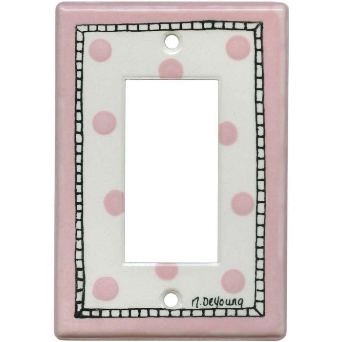 Pink Dots Single 1 Gang GFCI Rocker Decora Switch Plate Cover