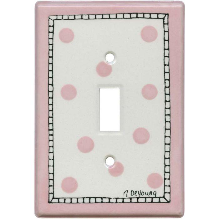 Pink Dots Single 1 Toggle Light Switch Plates
