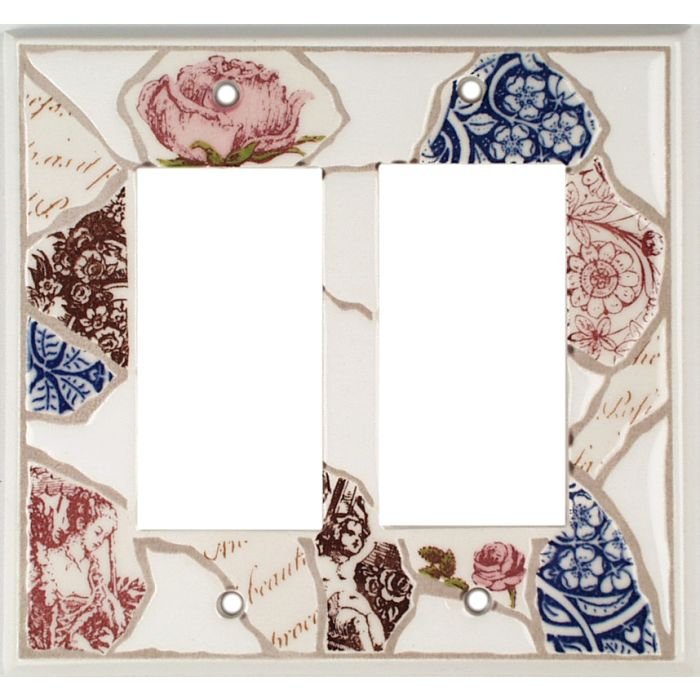 Pique Assiette Ceramic2-Gang Decorator / GFCI Rocker Wall Plate Cover