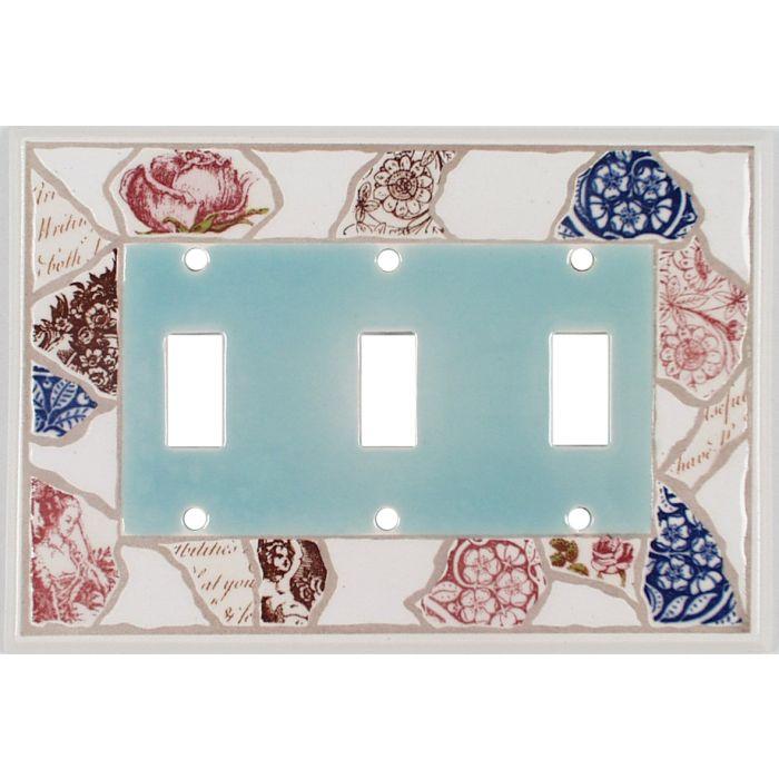 Pique Assiette Ceramic Triple 3 Toggle Light Switch Covers