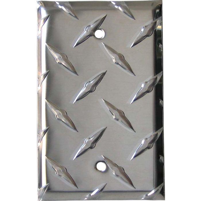 Polished Diamond Plate Tread Blank Wall Plate Cover